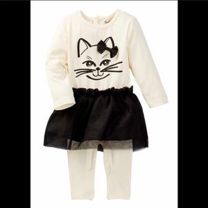 CAT FACE ROMPER, HALLOWEEN KITTEN COSTUME, 18-24 M